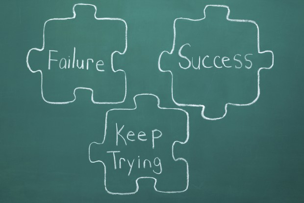 Perseverance and Success Jigsaw Puzzle Pieces Chalk Drawing
