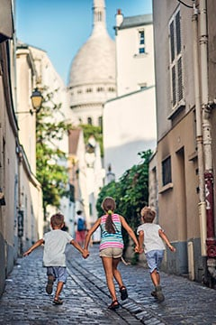 Children on vacation in France